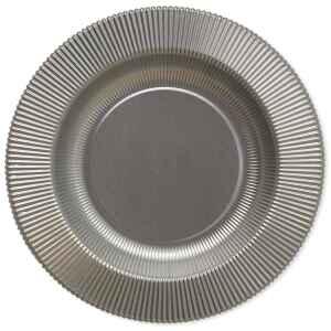 Piatti Fondi di Carta a Righe Argento Metallizzato Satinato 25,5 cm Extra
