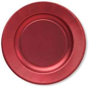 Piatti Piani di Carta a Righe Rosso Metallizzato Satinato 21 cm Extra