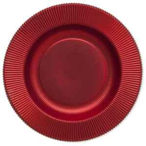 Piatti Fondi di Carta a Righe Rosso Metallizzato Satinato 25,5 cm Extra