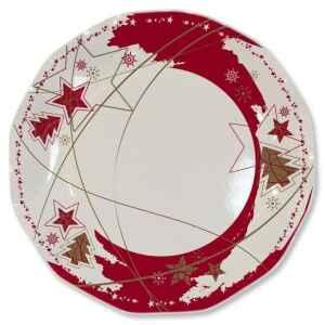 Piatti Piani di Carta a Petalo Stella Rossa 27 cm 2 confezioni Extra