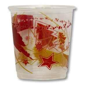 Bicchieri di Plastica PPL Stella Rossa/Stella oro 250 cc Extra