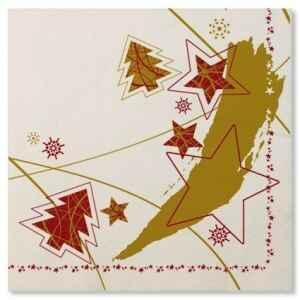 Tovaglioli Stella Rossa - Stella Oro 33 x 33 cm Extra