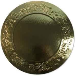 Sottopiatto Piano di Carta a Rilievo Ghirlanda Oro 34 cm 4 pz Extra