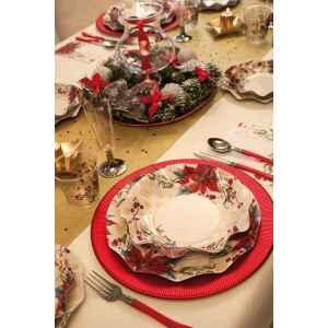 Piatti Piani di Carta a Petalo Natale Romantico 27 cm Extra