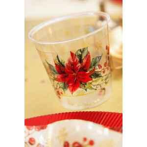Bicchieri di Plastica 300 cc Natale Romantico 3 Confezioni Extra