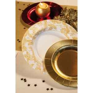 Piatti Fondi di Carta a Righe Foglie Oro 25,5 cm Extra