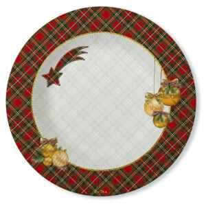 Piatti Fondi di Carta a Righe Natale in Scozia 25,5 cm 2 confezioni Extra