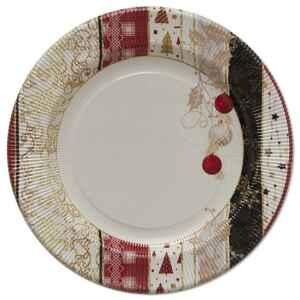 Piatti Piani di Carta a Righe Natale Patchwork 27 cm 2 confezioni Extra