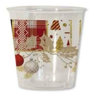 Bicchieri di Plastica Natale 300 cc Patchwork 3 confezioni Extra