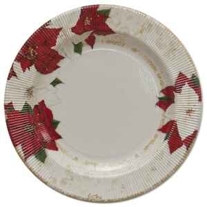 Piatti Piani di Carta a Righe Stella di Natale 27 cm 2 confezioni Extra