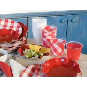 Bicchieri di Plastica Vichy a Quadri Bianco Rosso 300 cc 3 Confezioni Extra