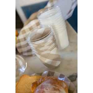 Bicchieri di Plastica Vichy a Quadri Bianco Tortora 300 cc 3 confezioni Extra