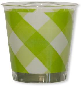 Bicchieri di Plastica Vichy a Quadri Bianco Verde Lime 300 cc 3 confezioni Extra