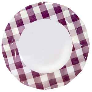 Piatti Piani di Carta Vichy a Quadri Bianco Prugna 27 cm 2 confezioni Extra