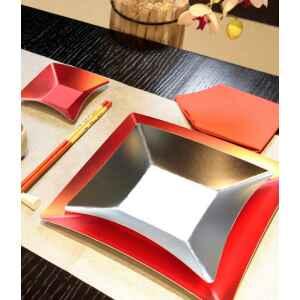 Piatti Piani di Carta Quadrati Piccoli Argento Satinato Wasabi 19 x 19 cm Extra
