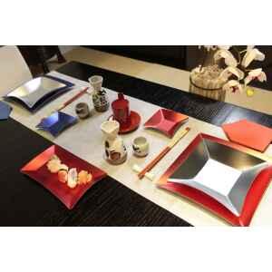 Piatti di Carta Rettangolare Wasabi Rosso Opaco 24,5 x 14,5 cm Extra