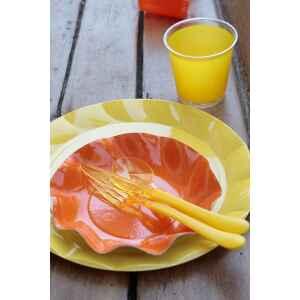 Piatti Piani di Plastica a Petalo Giallo 26 cm 2 confezioni Extra