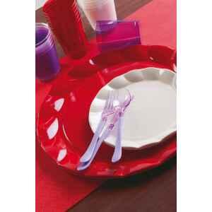 Piatti Piani di Plastica a Petalo Rosso 20 cm 2 confezioni Extra