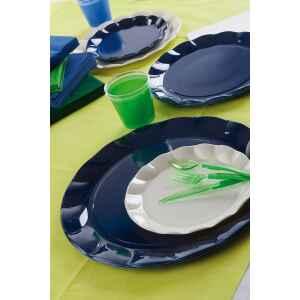 Piatti Piani di Plastica a Petalo Blu Notte 26 cm 2 confezioni Extra