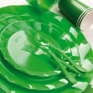 Piatti Piani di Plastica a Petalo Verde 34 cm 2 confezioni Extra