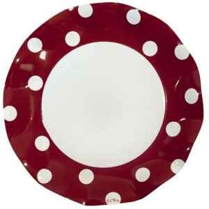 Piatti Piani di Carta a Petalo Pois Rosso 27 cm Extra