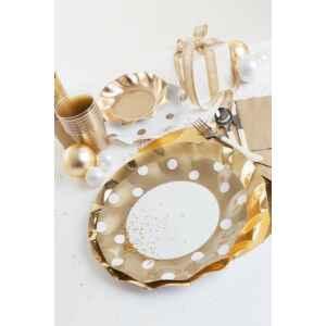 Bicchieri di Plastica Pois Oro 300 cc 3 confezioni Extra