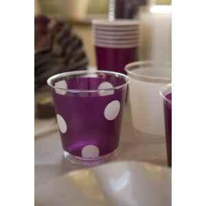 Bicchieri di Plastica Pois Prugna 300 cc 3 confezioni Extra