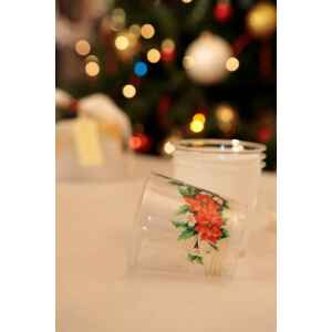 Bicchieri di Plastica Fiori di Natale 300 cc Extra
