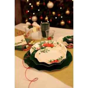 Piatti Piani di Carta a Petalo Fiori di Natale 21 cm Extra
