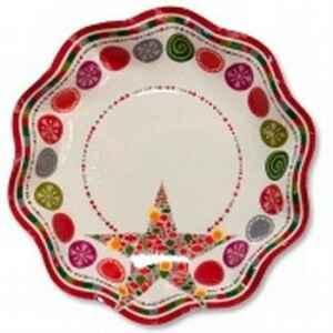 Piatti Fondi di Carta a Petalo Happy Christmas 24 cm 2 confezioni Extra