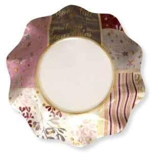 Piatti Fondi di Carta a Petalo Rose Gold Christmas 24 cm Extra