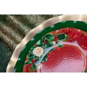Piatti Piani di Carta a Petalo Elegance Christmas 27 cm Extra