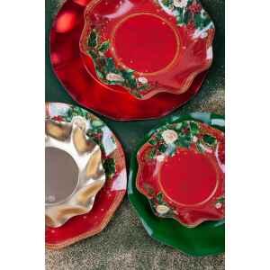 Piatti Fondi di Carta a Petalo Elegance Christmas 18,5 cm Extra