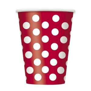 Bicchiere Rosso Pois Bianchi 355 ml