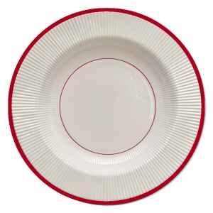 Piatti Fondi di Carta a Righe Bordo Rosso Classic Red 25,5 cm Extra