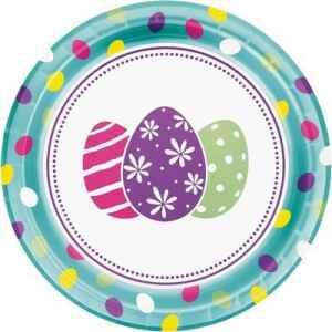 Piatto 23 cm Easter Egg metallizzato 8 pz