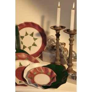 Piatti Fondi di Carta a Petalo Natale Folk 18,5 cm Extra