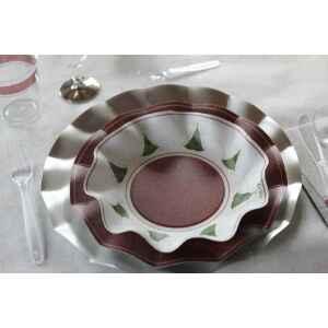 Piatti Piani di Carta a Petalo Natale Folk 24 cm Extra