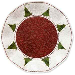 Piatti Piani di Carta a Petalo Natale Folk 21 cm Extra