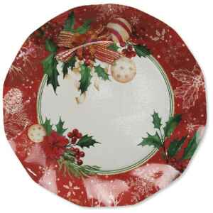 Piatti Piani di Carta Compostabili Christmas Decoration 27 cm Extra