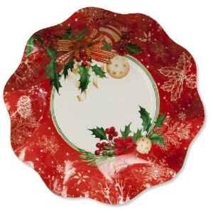 Piatti Fondi di Carta Compostabili Christmas Decoration 24 cm Extra