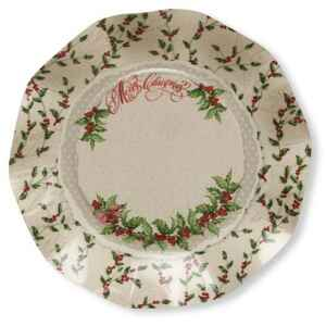 Extra Piatti Piani di Carta a Petalo Natale Shabby Christmas 21 cm