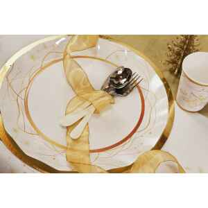 Piatti Piani di Carta a Petalo Natale Golden Christmas 32,4 cm Extra