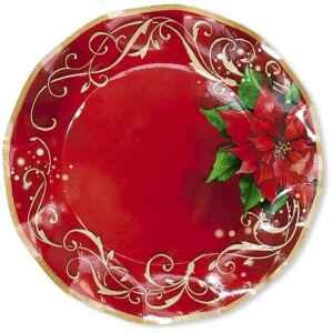 Extra Piatti Piani di Carta a Petalo Natale Poinsettia 24 cm