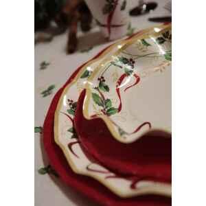 Extra Piatti Fondi di Carta a Petalo Natale Ribbon 24 cm