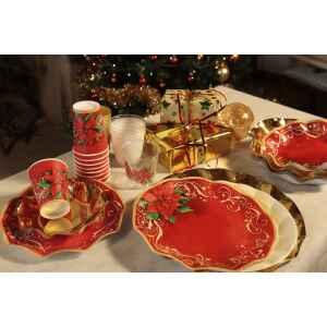Extra Piatti Piani di Carta a Petalo Natale Poinsettia 21 cm