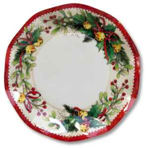 Extra Piatti Piani di Carta a Petalo Natale Jingle Bells 24 cm