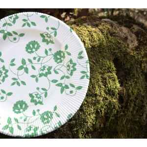 Piatti Fondi a Righe Compostabili Natura Verde 25,5 cm Extra
