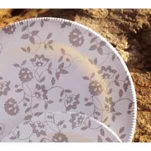 Piatti Fondi a Righe Compostabili Natura Taupe 25,5 cm Extra