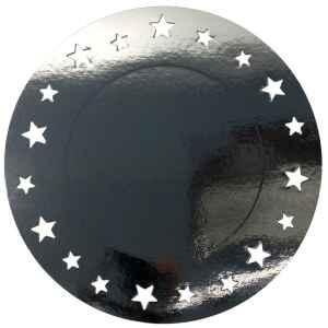Sottopiatto Piano con stelline Argento Lucido 34 cm 4 Pz Extra
